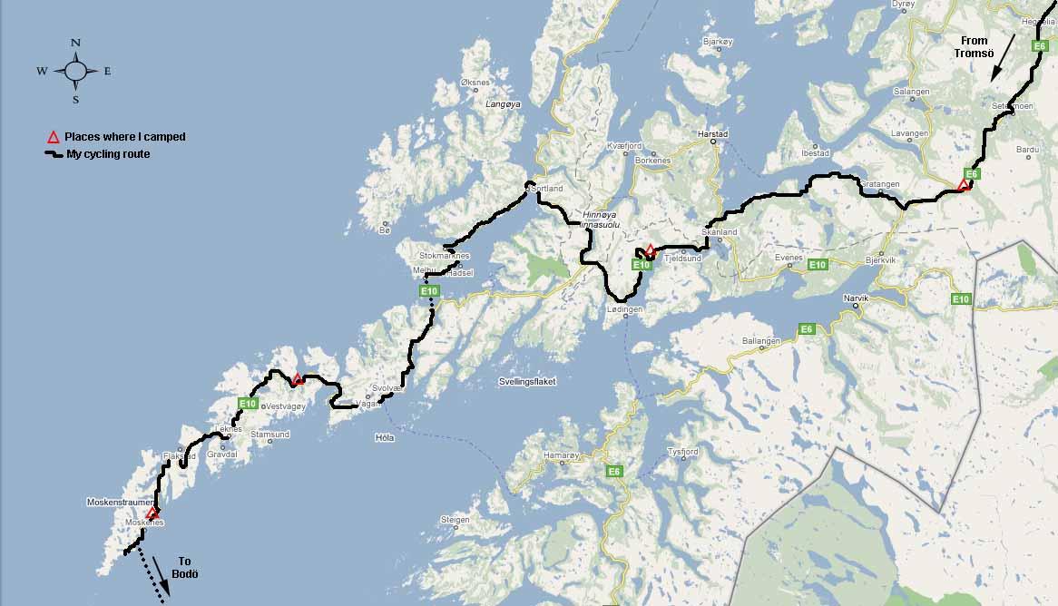 Ashley Burkes European Cycling Tour - Norway map lofoten islands