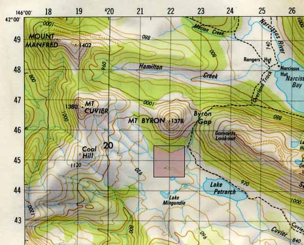 Fig 6.1: A section map showing the numbered grid lines.